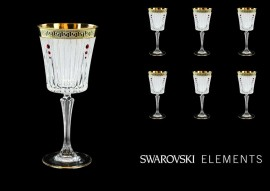 Drinking glass with ruby Swarovski stones