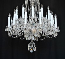 Detail of a chandelier with long candles