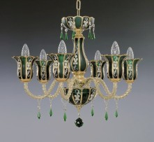 "8-arm Gold painted green chandelier ""Arabic green"""