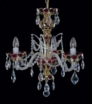 Small pomegranate-red chandelier with gold painting