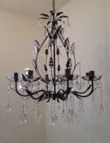 Mahagony brown crystal chandelier with metal arms