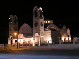 Village church in Nicosia District, Tseri,  Cyprus - at night