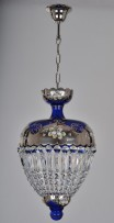 Crystal basket made of blue cobalt glass painted with platinum