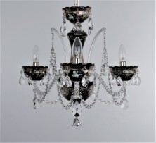 Black chandelier with silver painting on glass and silver metal parst