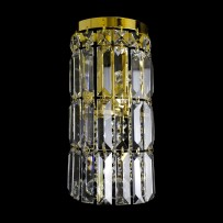 another view of smaller wall light with crystal prisms & crystal balls gold finish - turned off