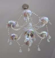 Glass chandelier with metallized surface