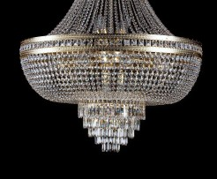 Detail of Large  basket chandelier lined with square stones