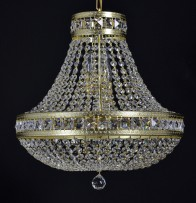Smaller basket chandelier as surface mount strass lamp lined with square stones