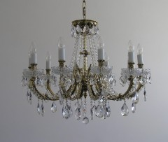 Solid gold crystal chandelier 8 arms
