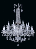 Big wedding chandelier with cut crystal bells, 24 bulbs