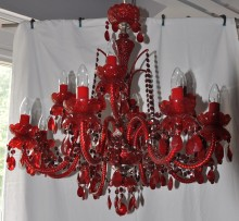 Dark red crystal chandelier