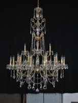 Tall 28 arms Cast brass crystal chandelier