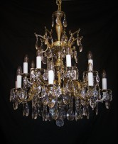 Tall chandelier made of cast brass 24 bulbs (2)