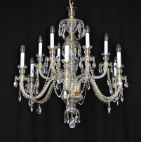 The hand blown and hand cut chandelier 12 arms in the original style of Kamenicky Senov
