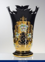 30.5 cm tall Black vase decorated with gilding