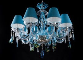 Blue marine chandelier with lampshades