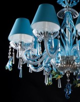 Blue lamp-shades and blue crystals