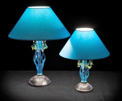 Blue table lamps with glass fishes