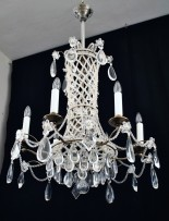 Brass chandelier inlaid with pearls