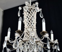 Detail of the Brass chandelier inlaid with pearls