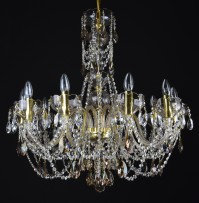 Yellow crystal chandelier with 8 glass arms