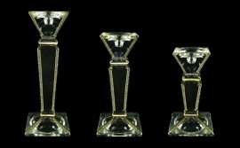 Glass candlesticks decorated with gold layer