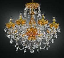 Orange crystal chandelier with PK500 hand cut onAmber glass