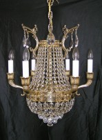 The cast brass Strass basket chandelier with 6 solid brass arms