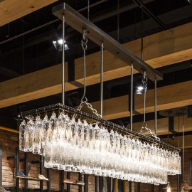 The custom-made iron chandeliers for a biker restaurant