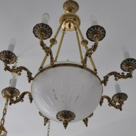 The 8 Arms Cast brass basket chandelier - cut sandblasted glass