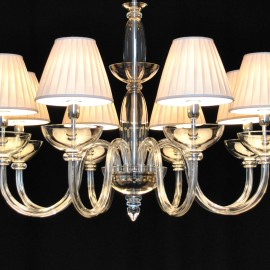 The 8 arms design smooth glass chandelier with white lampshades