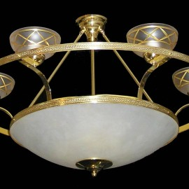 The glass basket chandelier with imitation alabaster