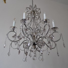 The 8 arms crystal chandelier - Smoke crystal glass & Glittering cut pearls
