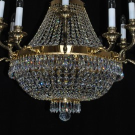 Gold crystal basket chandeliers with decorative arms made of massive cast brass