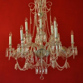 18-arm design crystal chandelier with crystal bells  & blown glass vases