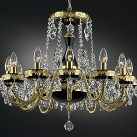 12-Arms Crystal chandelier - black glass decorated with glossy gold painting