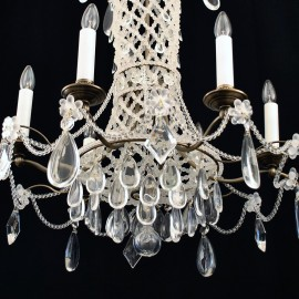 6-arm design chandelier with sandblasted pearls in French empire style