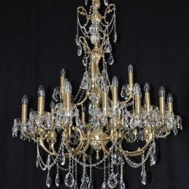 The large 28 arms Cast brass crystal chandelier