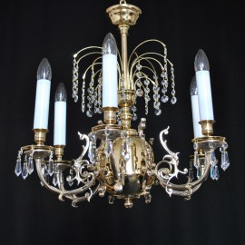 Crystal brass chandeliers & wall lights for a hunting lodge