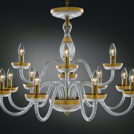 "Crystal glass chandelier ""SOPHIA"" decorated with gold matte painting"