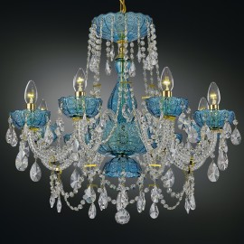 Blue and orange design crystal chandeliers made of cut colored glass