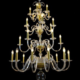 30-arm smooth glass chandelier - Matt gold brass