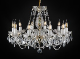 Traditional Czech crystal chandelier with 10 arms, PK500 hand cut