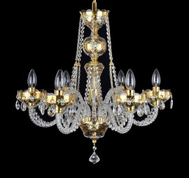Shining gold crystal chandeliers with hand painting on clear glass