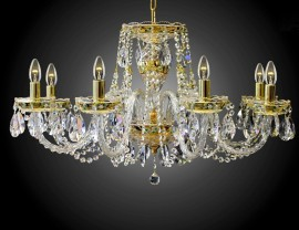 6-Arms Crystal chandelier high enamel on a golden background II.