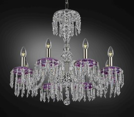 Purple crystal chandelier, lamps & luxury beverage glass