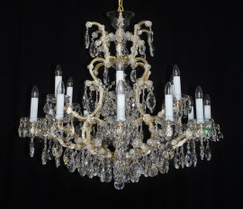 Luxurious 18-arm Terezian chandelier with lead trimmings