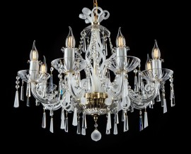 Design glass chandeliers with chemically frosted trimmings