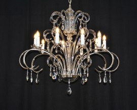 The 12 arms silver modern crystal chandelier - smooth blown glass