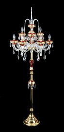 High floor lamp of ruby glass decorated with hand paintings